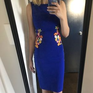 Chi Chi London blue cocktail dress with flowers
